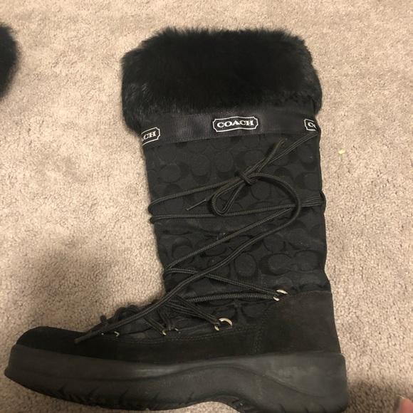 Coach Leighann Fur Trimmed Boots